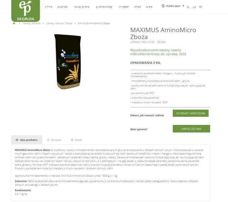 prezentacja produktów na stronie www